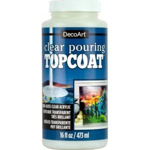 DecoArt Clear Pouring Topcoat 16oz Acrylique Transparent Très Brilliant DS134-16